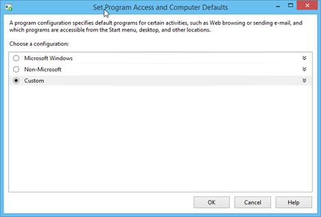 Set Program Access and Computer Defaults, Windows 8.1