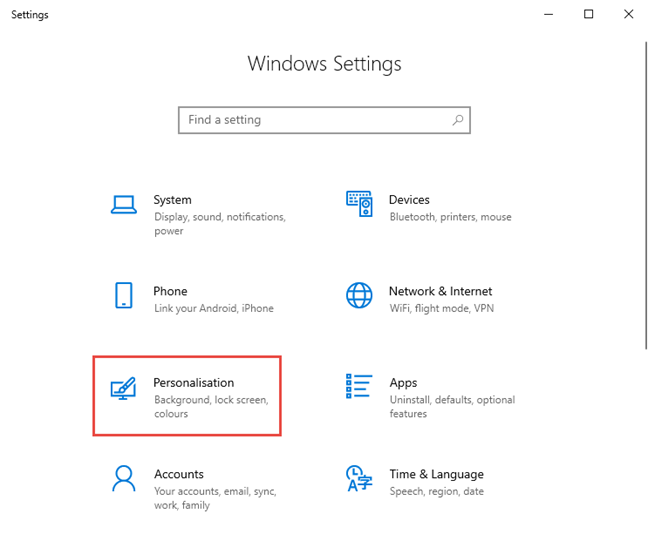 Go to Personalization in Windows 10 Settings