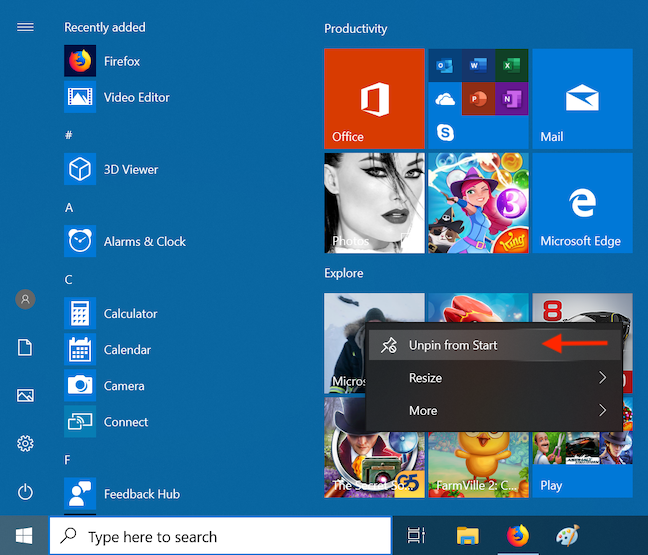 Unpin unwanted apps from your Start menu