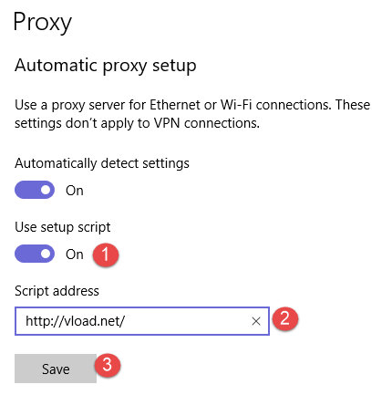Windows 10, proxy server, settings