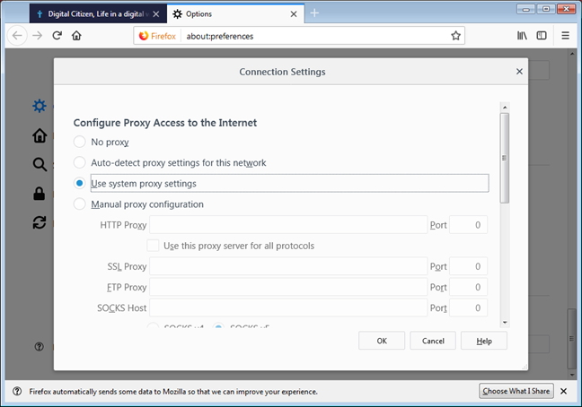 Use system proxy in connection settings in Mozilla Firefox