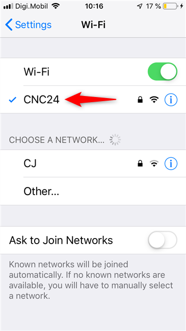 The wireless network to which an iPhone is connected