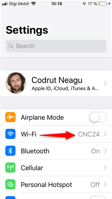 The Wi-Fi entry from the iPhone's Settings app