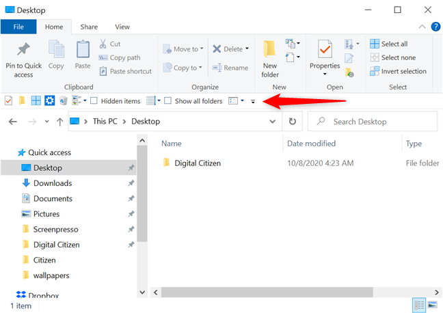 The Quick Access Toolbar in its lower position, under the ribbon