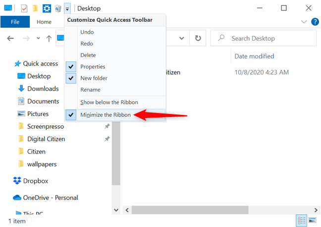 Uncheck the option to return the ribbon to its standard size