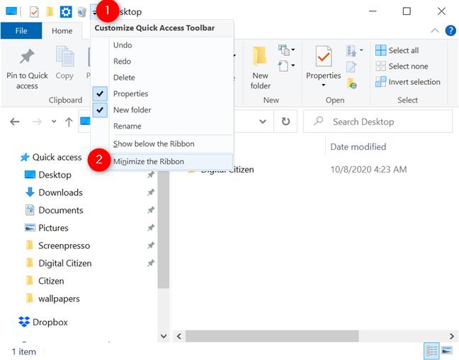 Minimize the Ribbon from the toolbar's menu