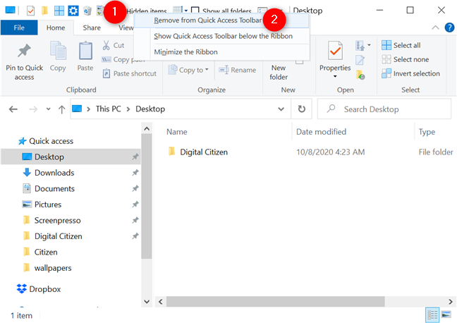 Removing a button from the Quick Access Toolbar