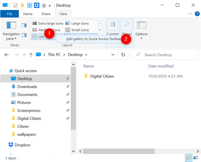 Adding the Views gallery to Quick Access Toolbar
