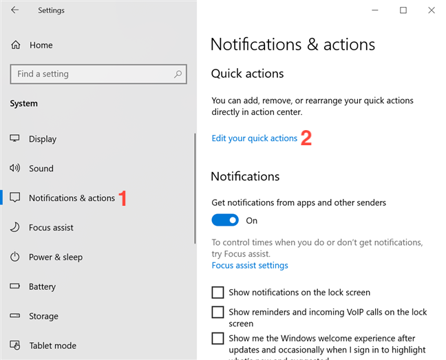 Customize Quick actions from the Notifications & actions tab