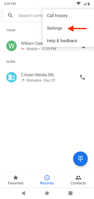 Access the Settings of the Phone app