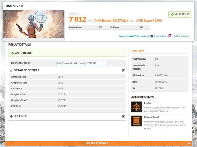 Benchmark result in 3DMark Time Spy