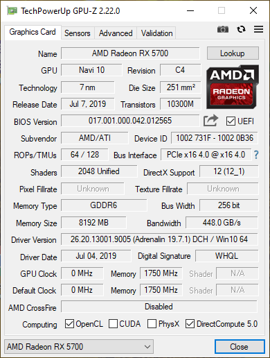 GPU-Z details about the AMD Radeon RX 5700