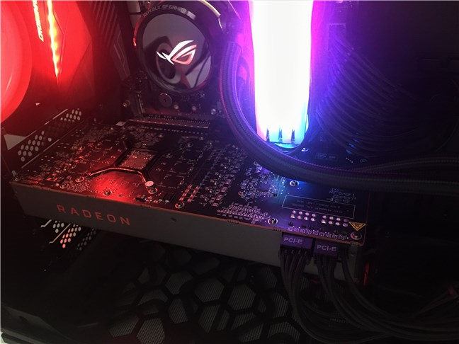The AMD Radeon RX 5700 mounted in a computer