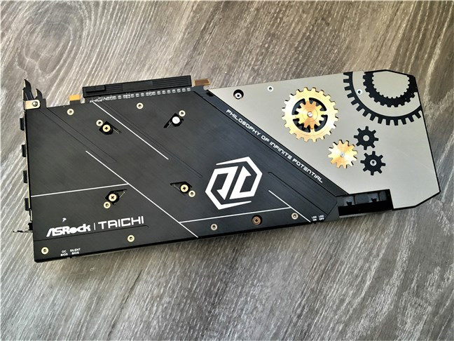 The metal backplate of the ASRock Radeon RX 5700 XT Taichi X 8G OC+