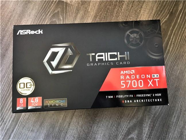 The packaging of the ASRock Radeon RX 5700 XT Taichi X 8G OC+
