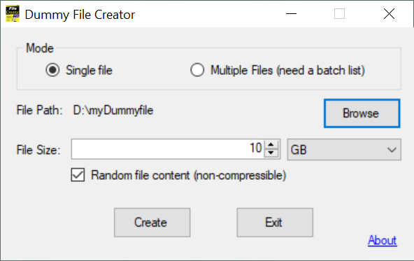 Customize your dummy file(s) and press Create