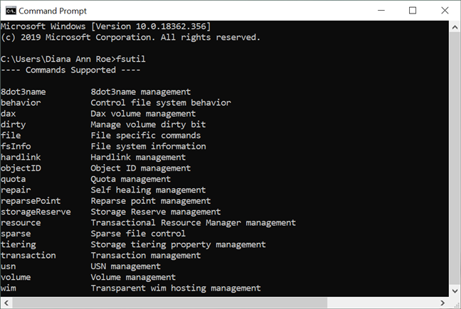 The list of commands supported by fsutil