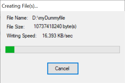 Follow the creation of your dummy file