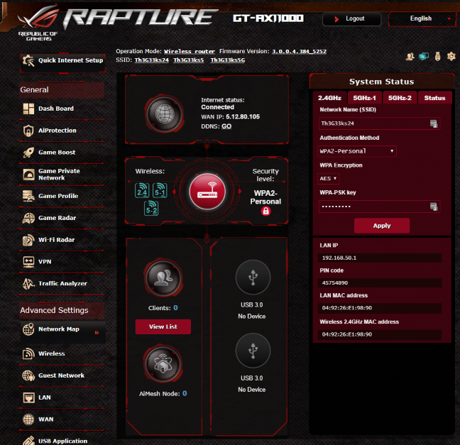 The firmware on the ASUS ROG Rapture GT-AX11000