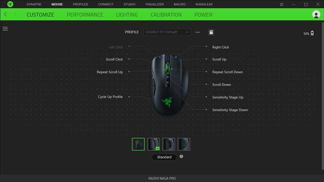 Customizing options for the Razer Naga Pro in Synapse