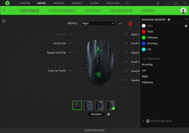 Razer Naga Pro can store five profiles on its onboard memory