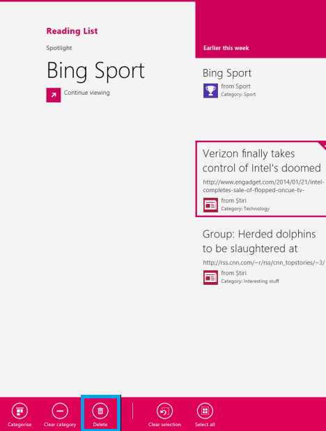 Windows 8.1, reading list, app, read later, remove, content, categories