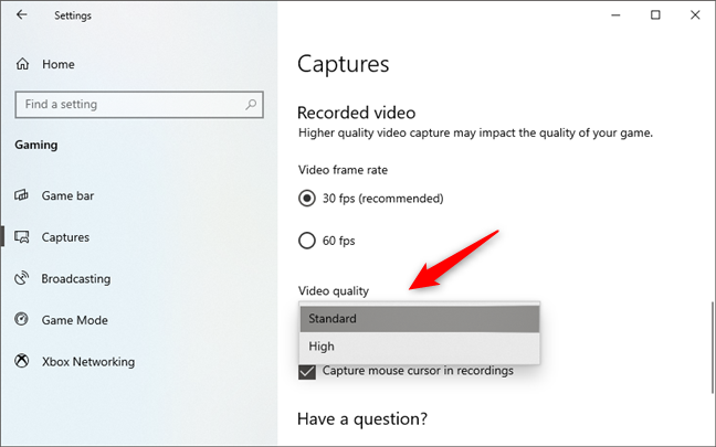 Video quality for gameplay recordings