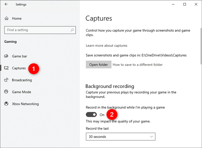 Enabling the Background recording feature in Windows 10