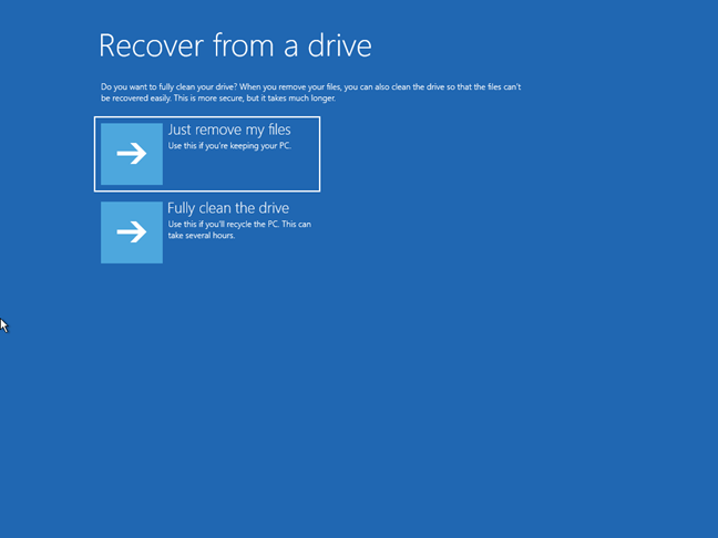 Resetting Windows 10 from the recovery drive