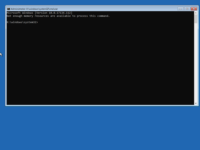 The Command Prompt from the Windows 10 recovery drive