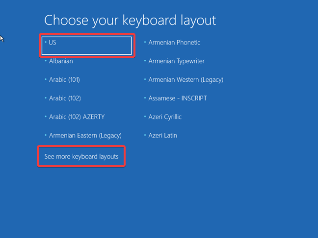 Choose the keyboard layout used by the Windows 10 recovery drive