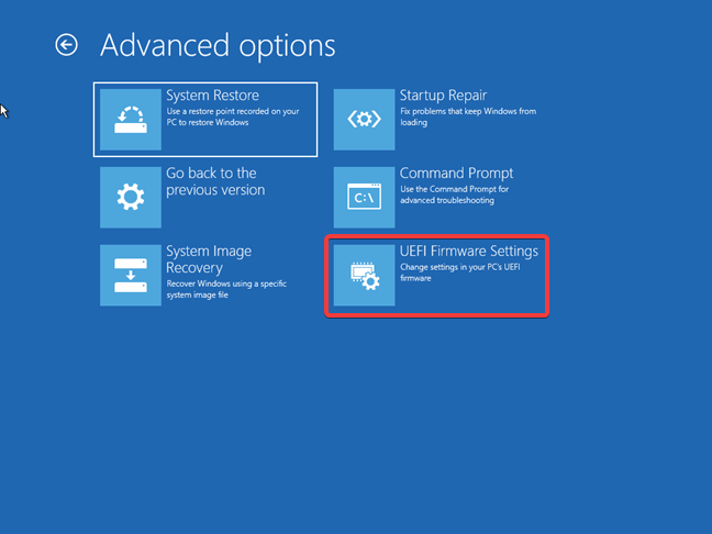 Accessing the UEFI Firmware Settings using the Windows 10 recovery drive