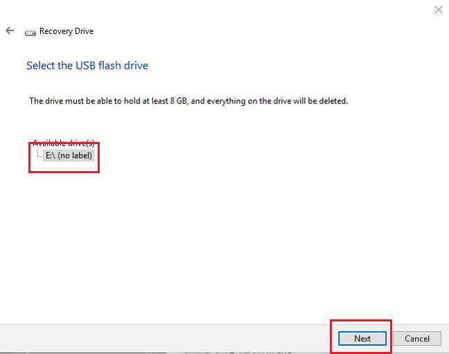 Select the drive to use for recovery in Windows 10