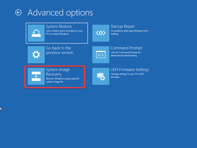 Using System Image Recovery from a Windows 10 recovery drive