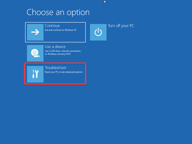 Troubleshoot using the Windows 10 recovery drive