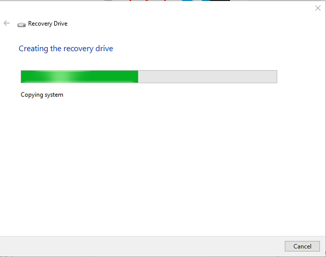 Creating the recovery drive in Windows 10