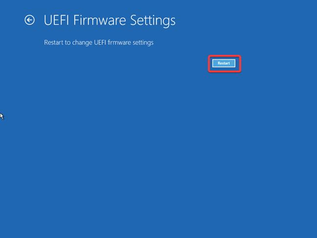 Restart to change UEFI Firmware settings using the Windows 10 recovery drive