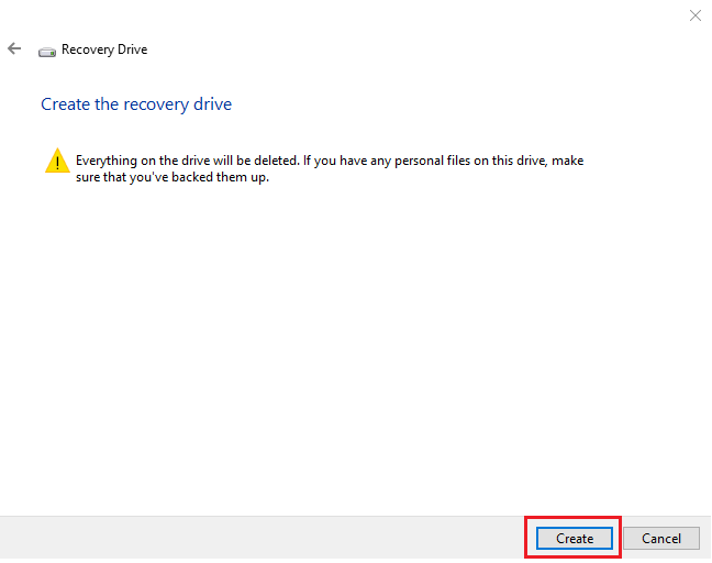 Start the creation of the recovery drive in Windows 10