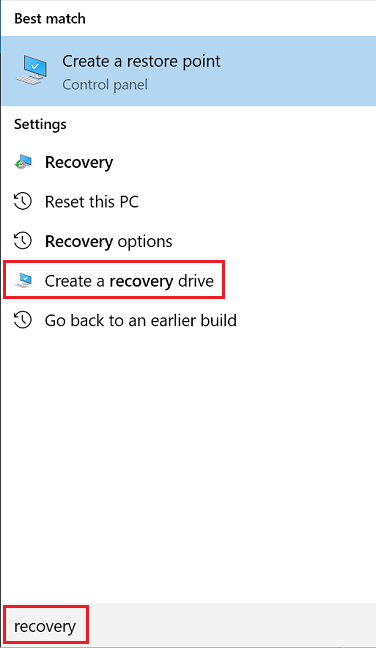Search for Recovery in Windows 10