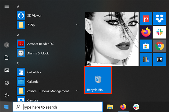 Add Recycle Bin to your Start Menu