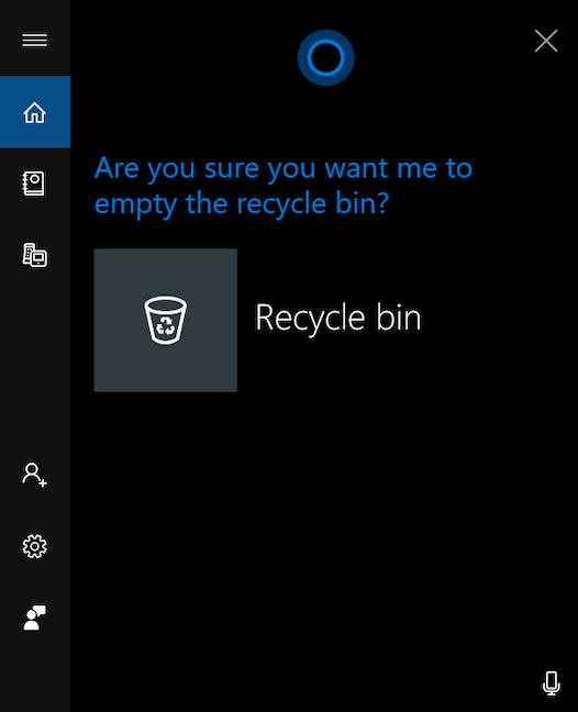 Empty Recycle Bin with Cortana
