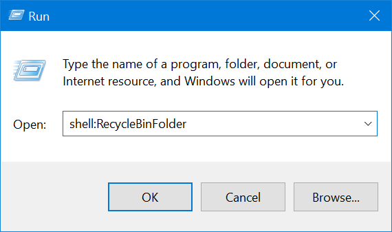 Insert the command to open the Recycle Bin