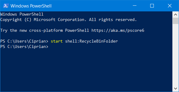 Opening the Recycle Bin from PowerShell