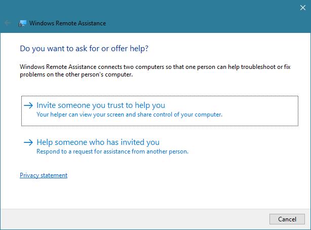 Windows Remote Assistance app in Windows 10
