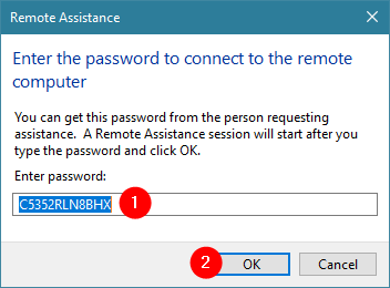 Entering the password for the Windows Remote Assistance connection