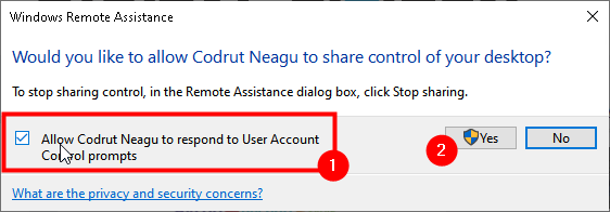 Allow the other party to respond to User Account Control prompts