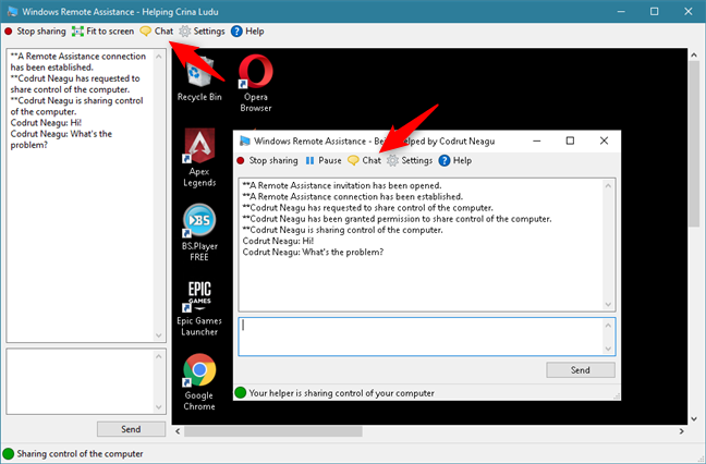 Using the Chat feature from Windows Remote Assistance