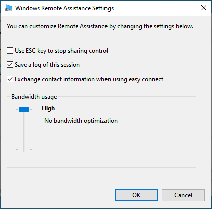 Windows Remote Assistance Settings available for the user that receives support
