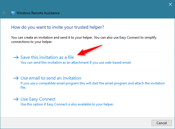 Windows Remote Assistance: Save this invitation as a file