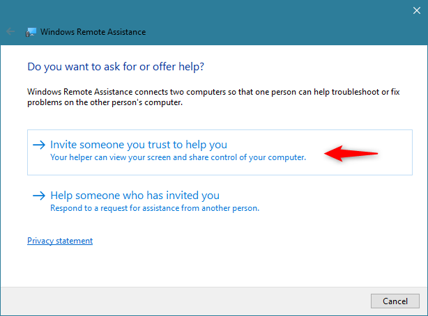Windows Remote Assistance: Invite someone to help you